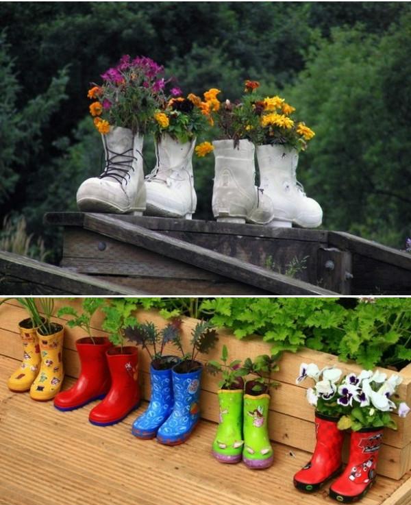 diy-rain-boots-garden-fences