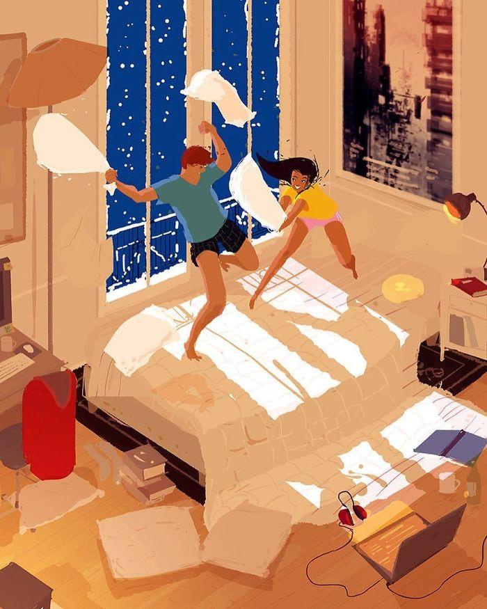 Рисованные картинки семейной жизни