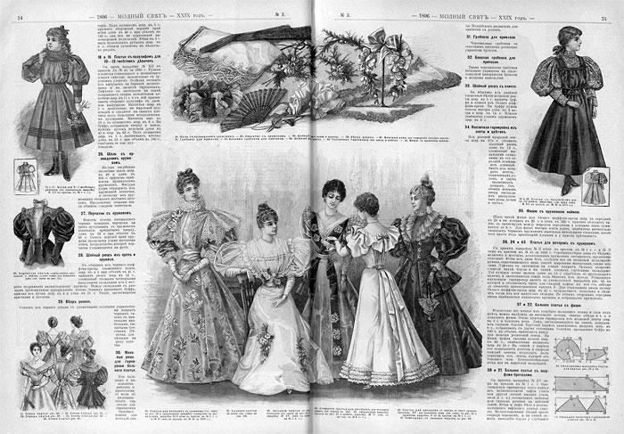 Разворот дамского журнала XIX века.