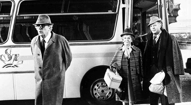 С Марчелло Мастроянни на съемках фильма «Джинджер и Фред», 1986