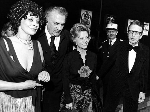 С Софи Лорен на премьере фильма «Амаркорд», 1974